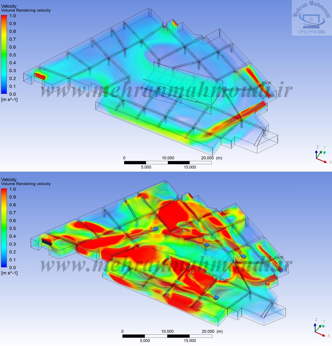 مدلسازی cfd دینامیک سیالات محاسباتی تهویه پارکینگ